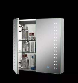 bathroom cabinet with dimming led lights and shaver plug