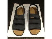 Hotter navy nubuck leather Gina sandals size 6.5 UK