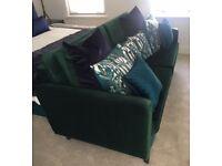 Forest green velvet, 2 seater sofa