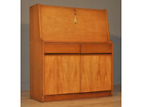 Attractive Large Vintage Retro Teak Writing Bureau Desk With Drawers & Cupboards