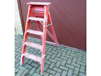 Original Mid 20th Century Sturdy Vintage Wooden 4 Rung Step Ladder - Weddings - Displays - Or Use