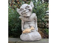 Stone Goblin Statue, Stone Garden Ornament, All Weather Christmas Gift, Made in Cornwall