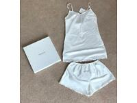 Pronovias white satin pyjama gift set bridal