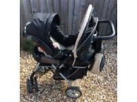 Graco Travel System inc. car seat, foot muff and changing bag