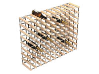 RTA 90 Bottle Wine Rack 10x8 Natural Pine Galvanised Steel Ready To Assemble - WINE0290