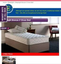 Single Ottoman bed with side lift with mattress