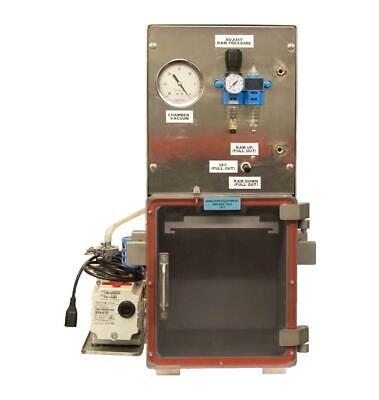 Pneumatic Press In Vacuum Chamber 10 X 9 X 11 Pfeiffer Duo 2.5 Vacuum Pump 7317