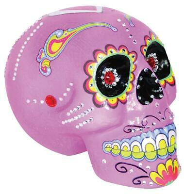 PINK SUGAR SKULL Painted Halloween Prop Decoration Day of the Dead HAUNTED HOUSE - Sugar Skull Halloween Paint