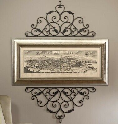WROUGHT CAST IRON METAL DECORATIVE WALL SCROLL FOR PICTURE MIRROR WINDOW OR DOOR ()