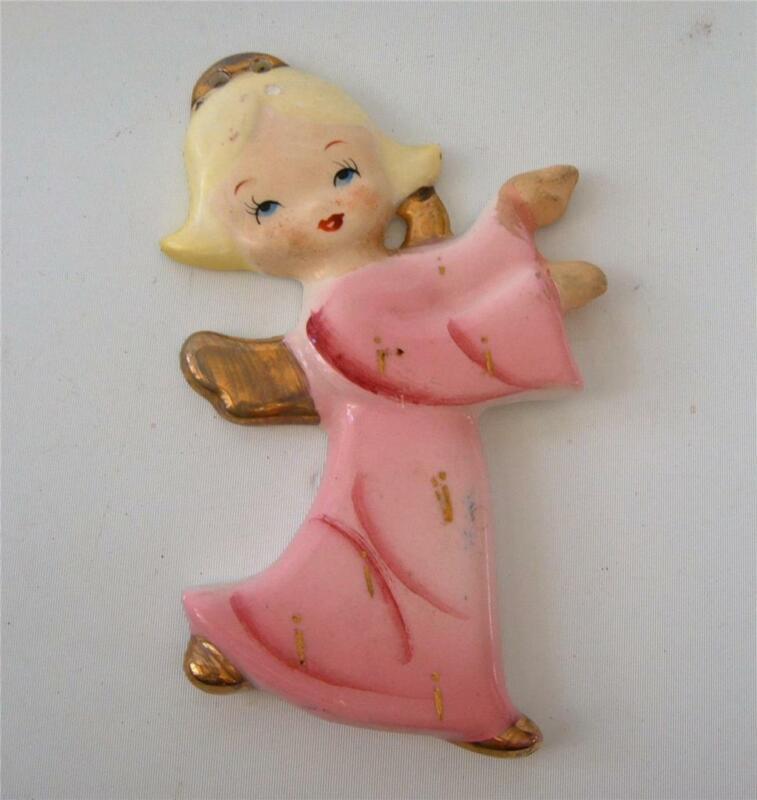Vintage Yona Originals Porcelain Angel Xmas Ornament Japan Blonde Pink 50