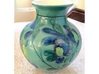 HAND PAINTED TURQUOISE FLOWER VASE, LARGE, DETAILED PAINTWORK