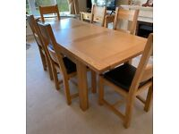 Solid Oak Halo Extending Dining Table and Six Dining Chairs