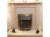 Pine Fire Surround & Marble Hearth Panel