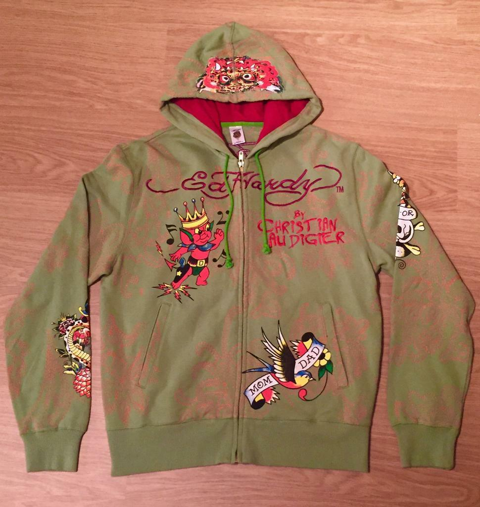 "Brand new vintage Ed Hardy ""Lucky Skull"" Large light green hoodie. Screen printed design"