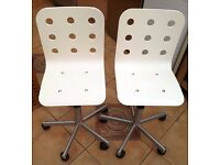 AS NEW Pair of Junior IKEA Jules Chairs - Adjustable Height / Swivel - White / Silver