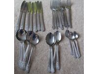 24 Piece Cutlery Set Viners Stainless Steel Floral Pattern