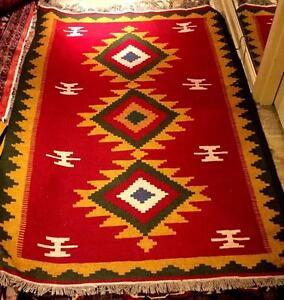 """Vintage Red Green And Yellow Wool On Wool Handwoven Kilim """"Diamond"""""""