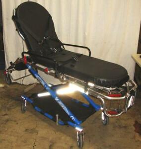 Ferno Pro FlexX Proflexx 35X Ambulance Stretcher Cot w/ arms & IV Mount Blue