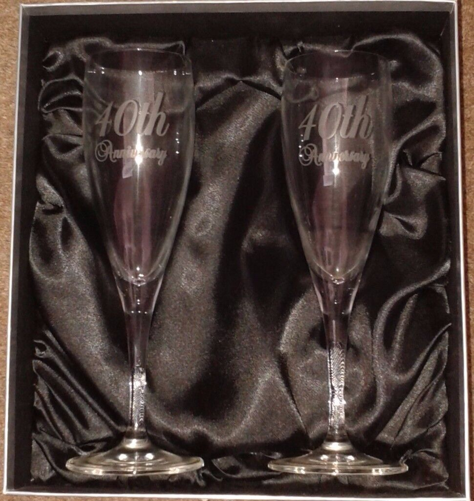 40th Ruby Wedding Anniversary Champagne Flutes Brand New In Satin Lined Box West Cross Swansea Gumtree