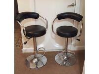 Pair of black leather & chrome bar stools