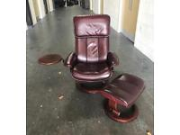 Ekornes Stressless Cherry leather recliner chair stool CAN DELIVER