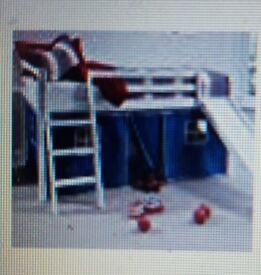 Cabin bed whitewash mid sleeper bunk with slide blue tent