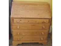Bureau, Pine, 4-Drawer, Fitted Interior Escritoire, Solid wood, Good Condition