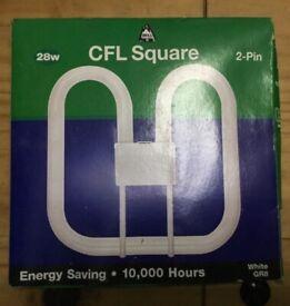 9 X BELL CFL Square Bulb 28W 2-Pin White 3500K