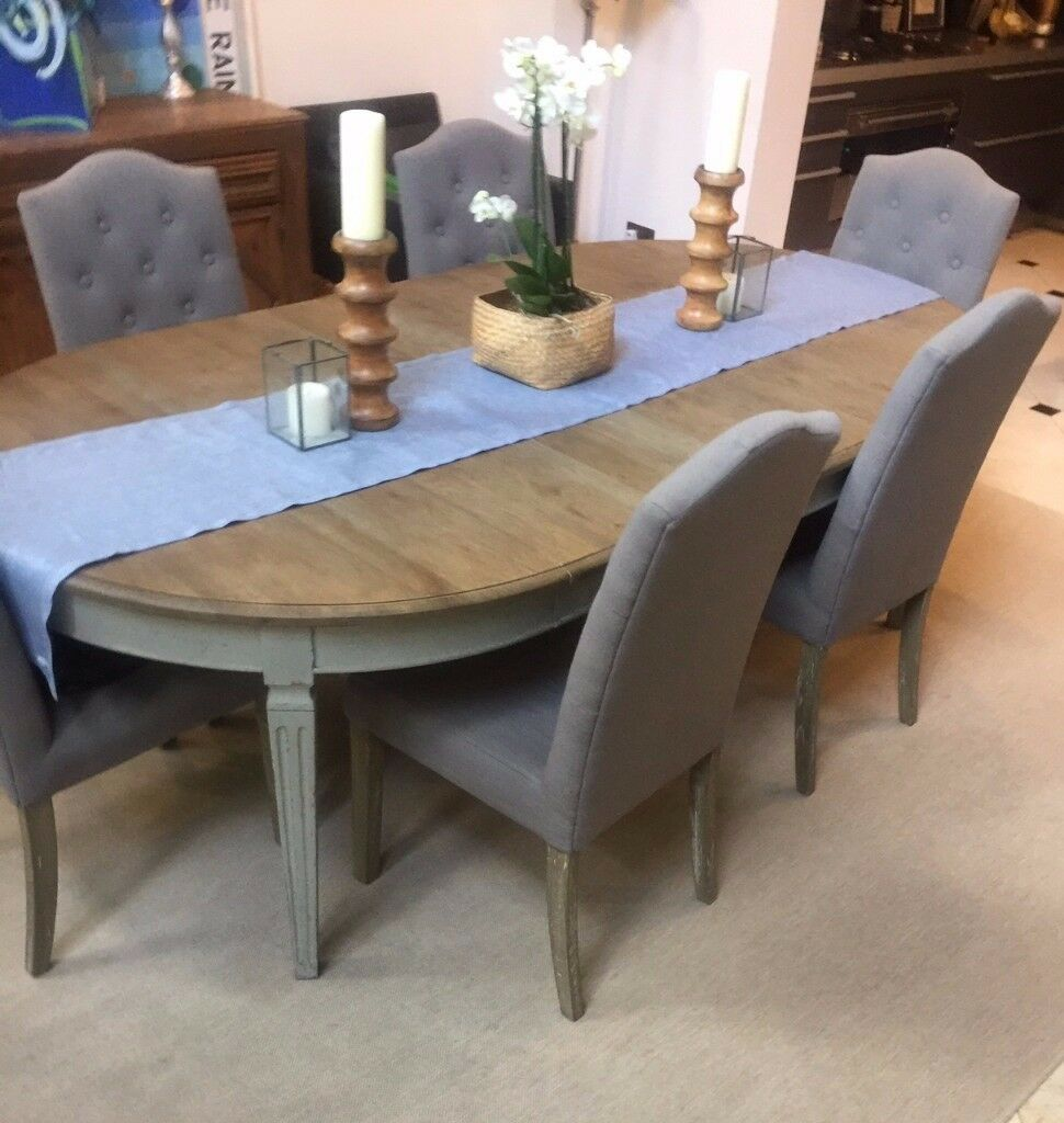 Swedish Style Extendable Wooden Painted Dining Table And 6