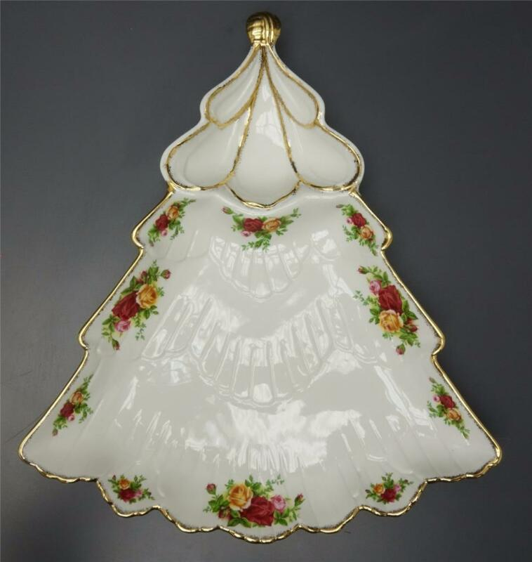 Royal Albert Old Country Roses Christmas Tree Chip Dip Plate Divided Dish