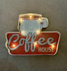Coffee house battery operated wall sign