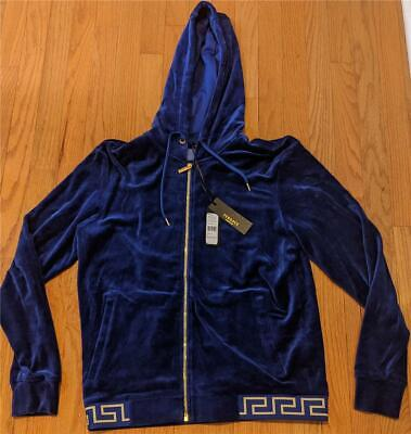 $995 Mens VERSACE Velour Signature Waistband Track Jacket Blue 3 (Extra Small)