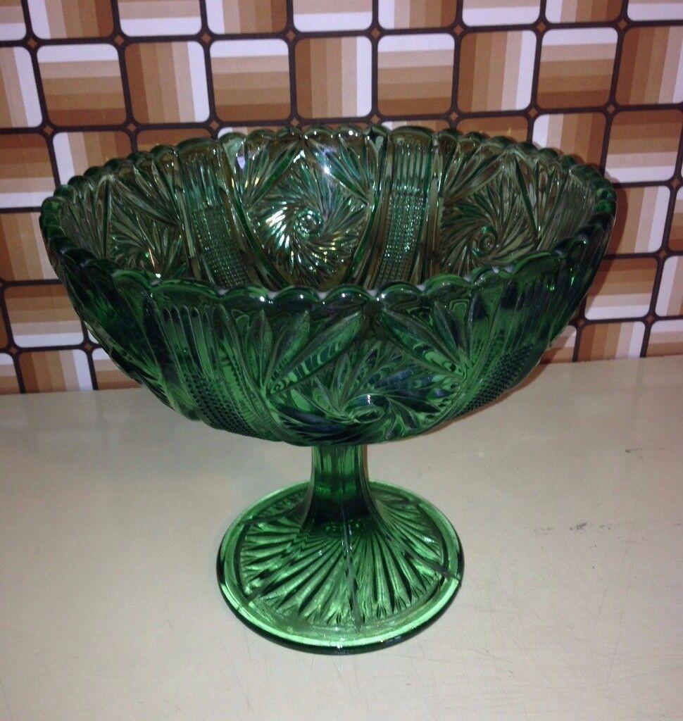 Beautiful Green cut glass pedestal fruit bowl