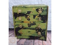 Punk Chest of Drawers Green and Black Antique Vintage Retro Steampunk Abstract Set of Drawers