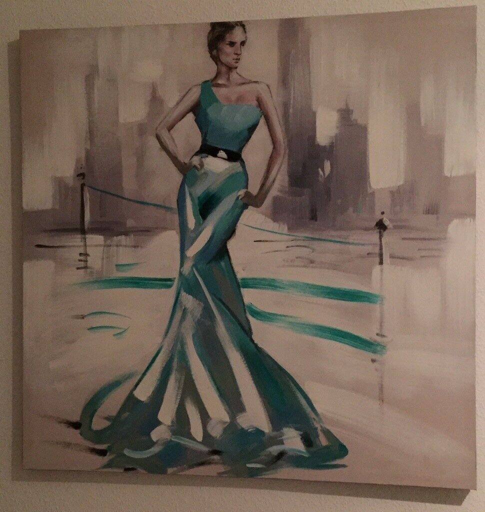 Lady dancing large canvas wall art