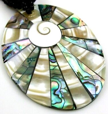 Abalone Shell Mother of Pearl Shiva Eye Pendant Beads Jewelry necklace BA312 for sale  Shipping to Canada