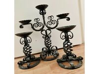 UKO Kropa - Slovenian hand-wrought iron candelabrum and 2 candlesticks