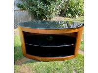 Oval shape TV / media stand from John Lewis - walnut & black glass