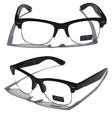 Schwarz Rahmen Silber Felge Rund Nerd 24.4ms Sun-Glasses Klar Gläser Halb