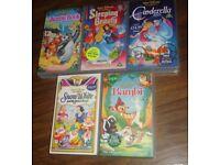 5 DISNEY VHS VIDEOS JUNGLE BOOK BAMBI CINDERELLA SLEEPING SNOW WHITE JOB LOT !!!