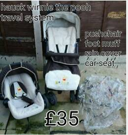 Hauck winnie the pooh travel system / pushchair excellent condition