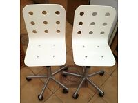 Pair of IKEA Jules Desk Chairs - Adjustable Height / Swivel - White / Silver