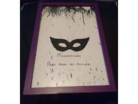 Masquerade Paper faces on parade Crayon & Glitter Art Picture in Purple Frame