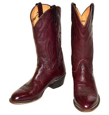 Lucchese T3095 R4 LONE STAR Black Cherry Leather Cowboy Western Boots 10.5 2E