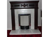 Mahogany Fireplace and Surround Complete - Immaculate (14 inch Grate)