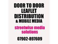 Streetwise Media Services door to door LEAFLET DISTRIBUTION, North East & Yorkshire