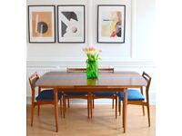 Vintage rosewood extending table and 4 Danish teak and velvet chairs. Delivery. Modern / Midcentury.