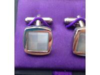 Jeff Banks Silver Cuff Links & original box