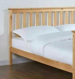Pocket Sprung Pearl 3000 Orthopeadic Mattress Memory Foam Uk + Wood bed frame