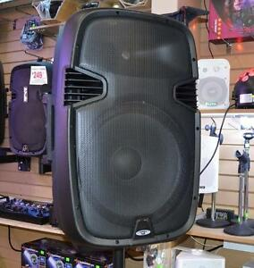 "Acoustic Audio 15"" 1000 Watt Portable Rechargeable PA Speaker System w/ 2 VHF Wireless Microphones"